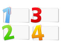 Blank paper cards with numbers. Illustration of blank paper cards with numbers royalty free illustration