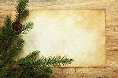Blank paper and Christmas decorations royalty free stock photos