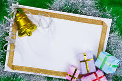 Blank paper and Christmas presents Royalty Free Stock Photos