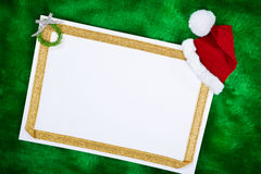 Blank paper and Christmas presents Royalty Free Stock Image