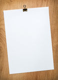 Blank paper with clip Royalty Free Stock Images