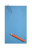 Blank paper with clip and pencil Royalty Free Stock Image