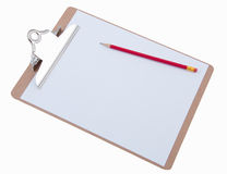 Blank Paper on Clipboard Stock Photo