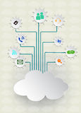 Blank paper cloud computing.Social networks. Royalty Free Stock Images