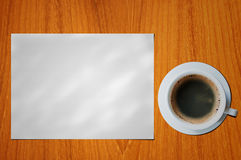 Blank paper with coffee cup Stock Photos