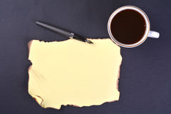 Blank paper with coffee cup and fountain pen Royalty Free Stock Photography