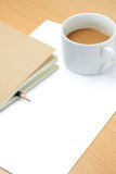 Blank paper,coffee cup,pencil and book Stock Photography
