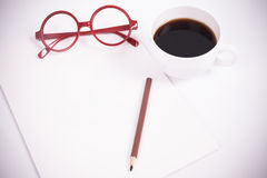 Blank paper with coffee, glasses Stock Photography