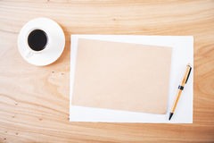 Blank paper and coffee Royalty Free Stock Image