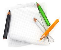 Blank paper with color pencils. Blank paper sheets with color pencils 3d illustration Stock Image