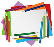 Blank paper and color pencils in background. Illustration Royalty Free Stock Images