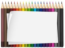 Blank paper with colorful color pencils. Illustration Stock Photography
