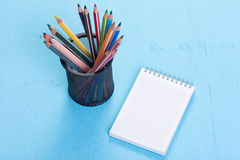 Blank paper and colorful pencils Royalty Free Stock Photo