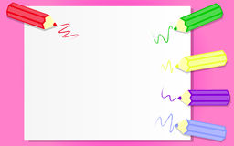 Blank paper with colorful pencils. Pink background of blank paper with colorful pencils Stock Photo