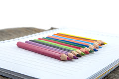 Blank paper and colorful pencils Royalty Free Stock Photography