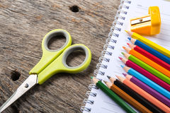 Blank paper and colorful pencils Stock Photo