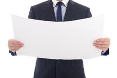 Blank paper with copy space in business man hands isolated on wh Royalty Free Stock Images