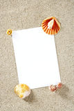 Blank paper copy space summer beach sand vacation Stock Photo
