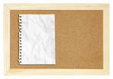 Blank paper on cork board isolated Royalty Free Stock Images