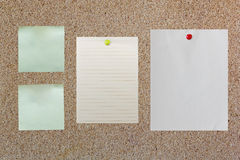 Blank paper on corkboard with red and yellow pin Royalty Free Stock Photos