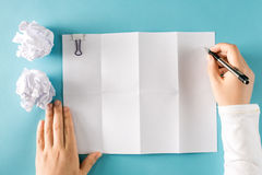 Blank paper with crumpled paper balls Stock Photos