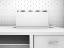 Blank paper desk spiral calendar. 3D. Rendering Stock Photos