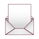 Blank paper envelopes opened with sheet Stock Image