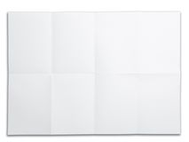 Blank paper with fold mark. isolated on white.