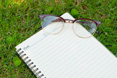 Blank paper and glasses on green grass. Stock Images