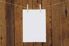 Blank paper hanging in clothespins on washing line Stock Image