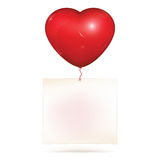 Blank paper hanging on heart balloon. Blank paper note hanging on red heart helium balloon. Copy space for greeting text to saint Valentines day or love note stock illustration