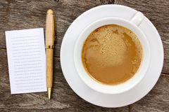 Blank paper with hot coffee cup Stock Photography