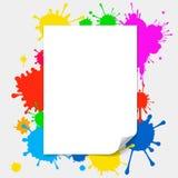 Blank paper illustration on colored splashes. Blank paper with page curl illustration on colored splashes background stock illustration
