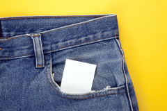 Blank paper in the jeans pocket Royalty Free Stock Photos