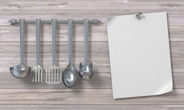 Blank paper with kitchen utensils 3D. Render illustration on wooden background Stock Photos
