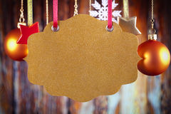 Blank paper label, Christmas baubles and snowflake Royalty Free Stock Image
