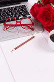 Blank paper with laptop, glasses and roses (soft color and vigne Stock Photos