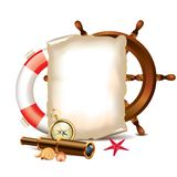 Blank paper with marine items Royalty Free Stock Photo