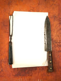 Blank paper menu with knife and fork as background Royalty Free Stock Photography