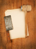 Blank paper menu with meat cleaver and mallest on Stock Image