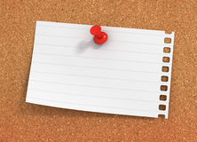 Blank paper note on bulletin board  3d illustration Royalty Free Stock Images