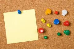 Blank paper note on cork board Stock Photo