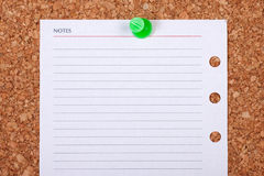 Blank Paper Note on Corkboard Stock Photo