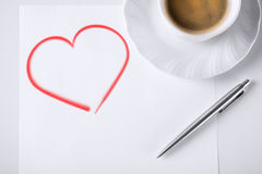 Blank paper for note, pen and coffee Stock Photo