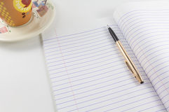 Blank paper note and pen Stock Photography