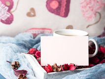 Blank paper note for Valentine`s day and coffee mug Stock Photography