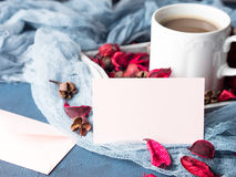 Blank paper note for Valentine`s day and coffee mug Royalty Free Stock Photography