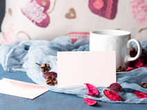 Blank paper note for Valentine`s day and coffee mug Royalty Free Stock Images