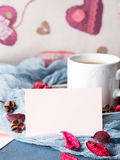 Blank paper note for Valentine`s day and coffee mug Royalty Free Stock Image