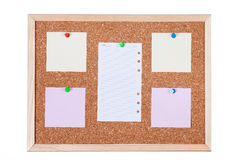 Blank Paper Notes on Corkboard Stock Images